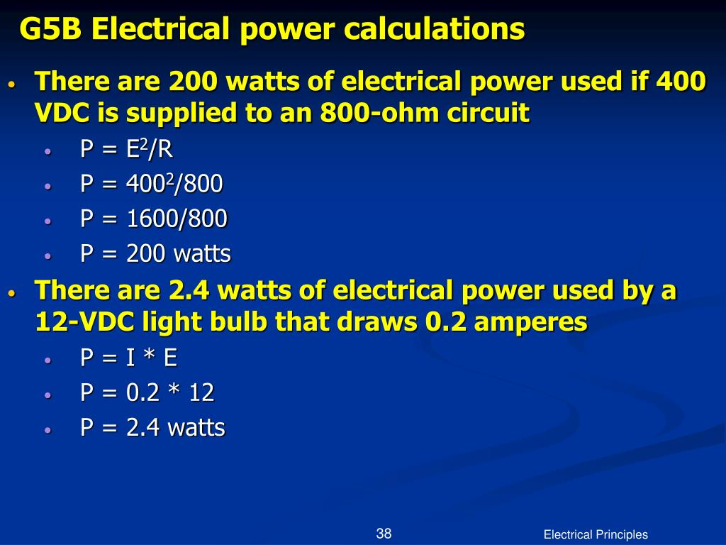 G5B Electrical power calculations