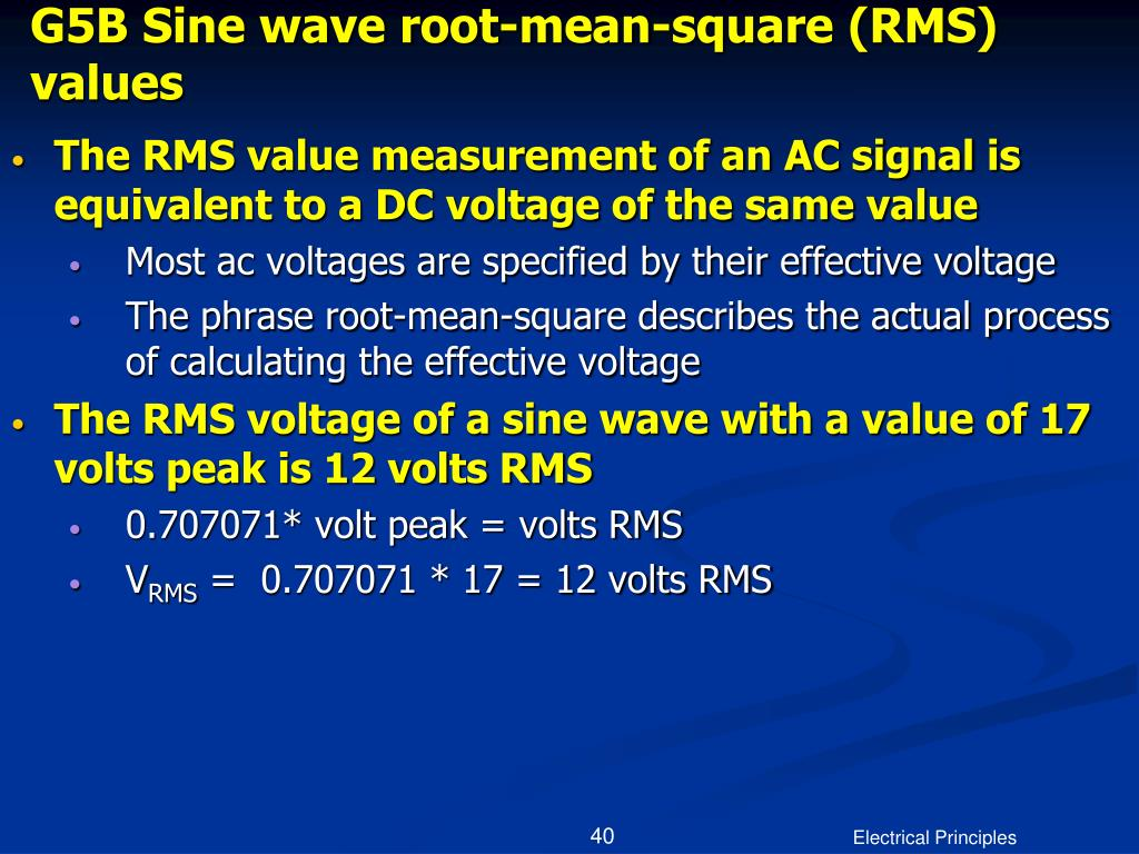 G5B Sine wave root-mean-square (RMS) values