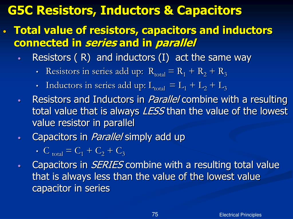 G5C Resistors, Inductors & Capacitors