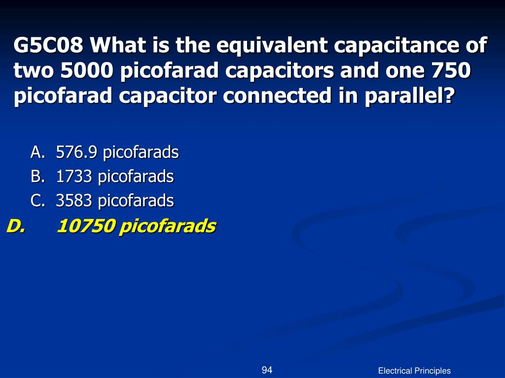 G5C08 What is the equivalent capacitance of two 5000 picofarad capacitors and one 750 picofarad capacitor connected in parallel?