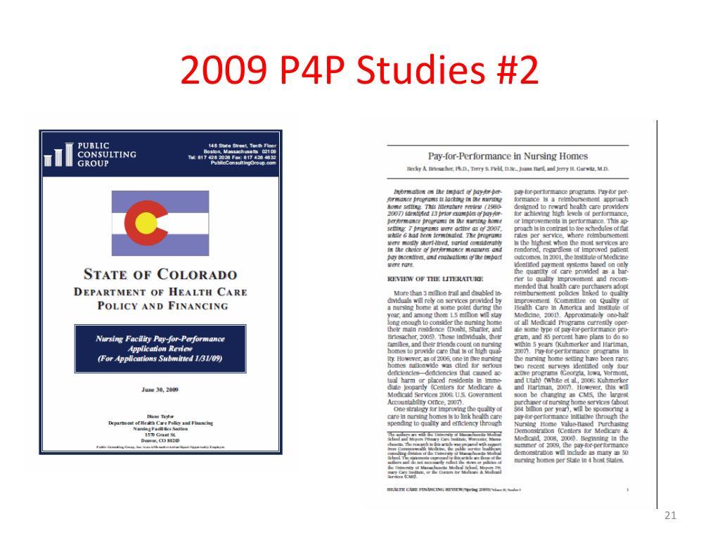 2009 P4P Studies #2