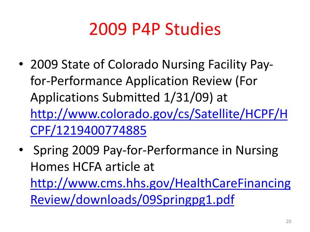 2009 P4P Studies
