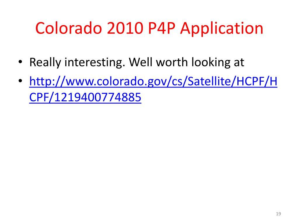 Colorado 2010 P4P Application