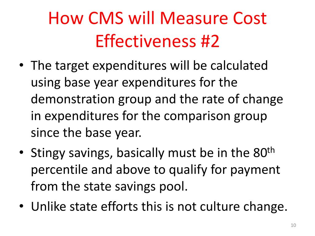 How CMS will Measure Cost Effectiveness #2