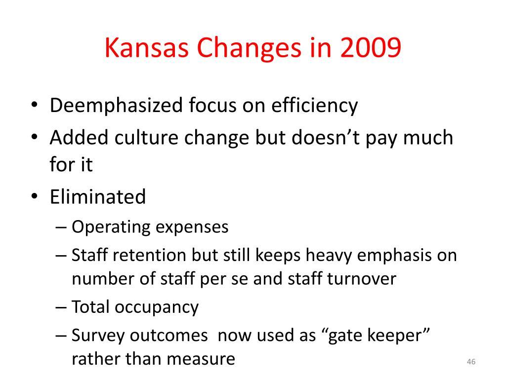 Kansas Changes in 2009