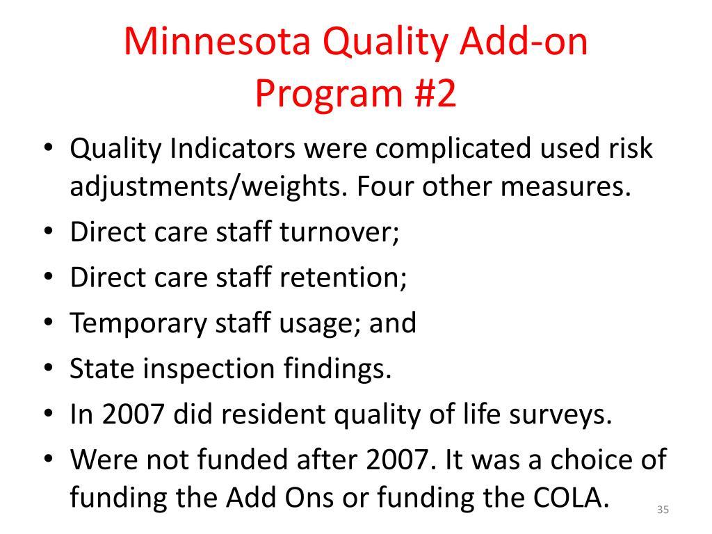 Minnesota Quality Add-on Program #2