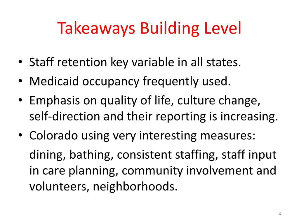 Takeaways Building Level