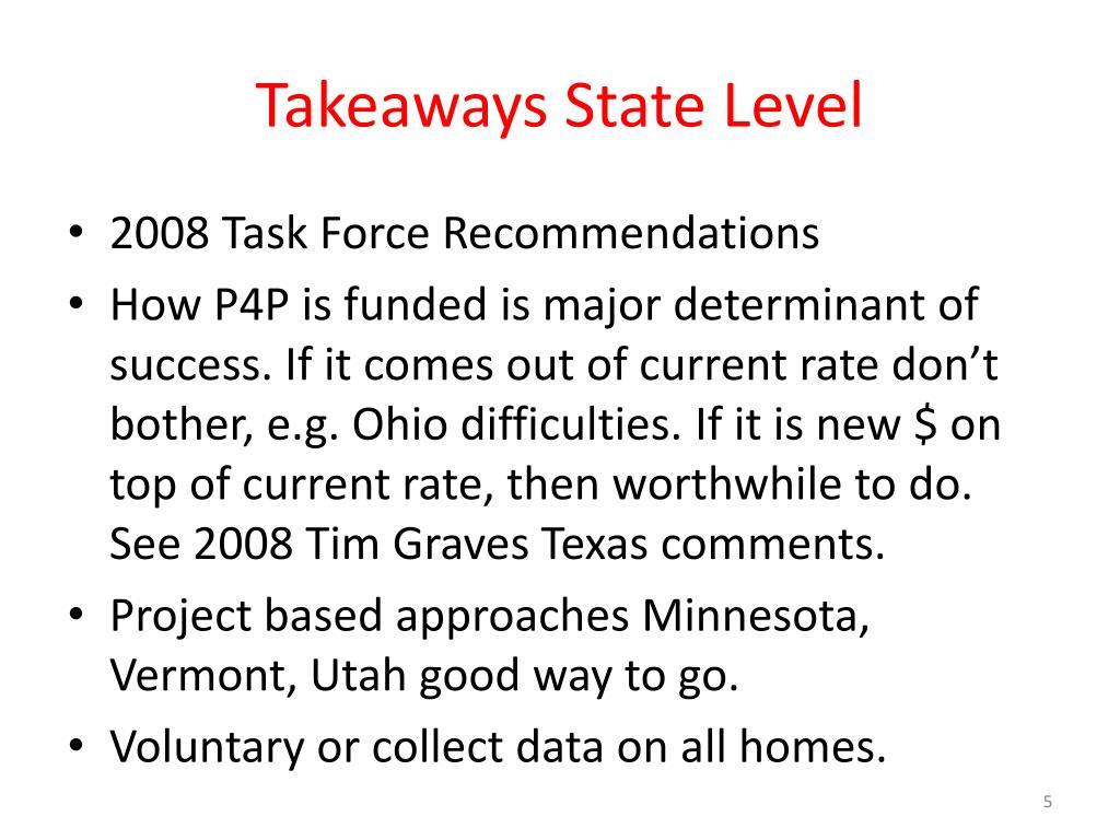 Takeaways State Level