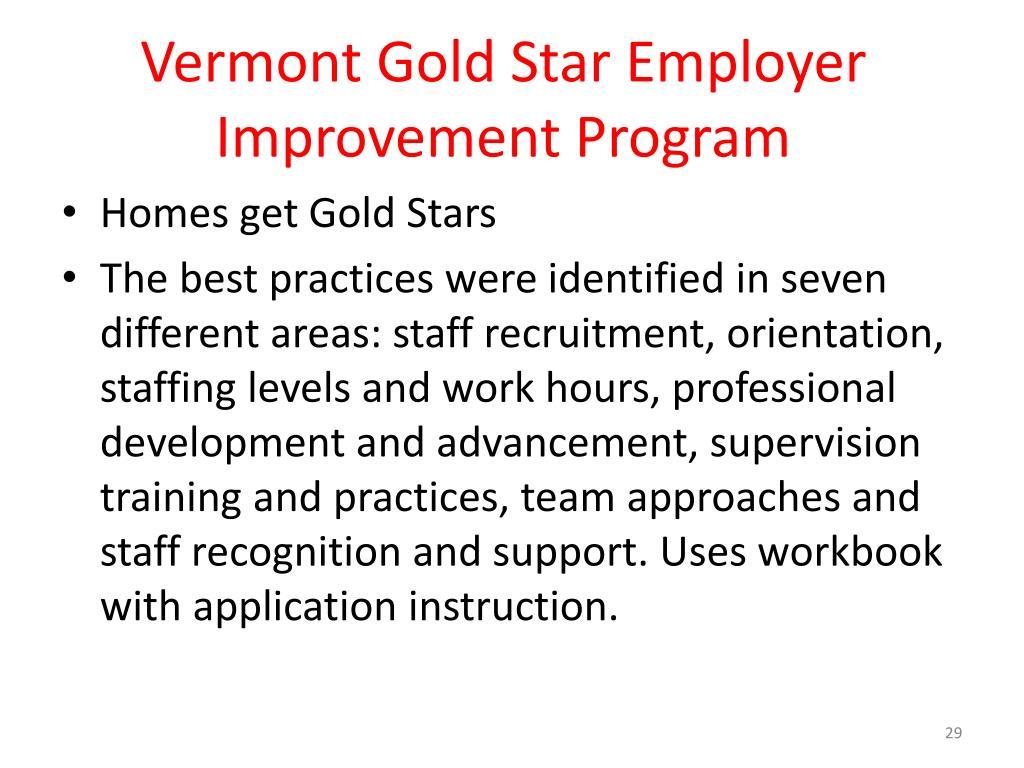 Vermont Gold Star Employer Improvement Program