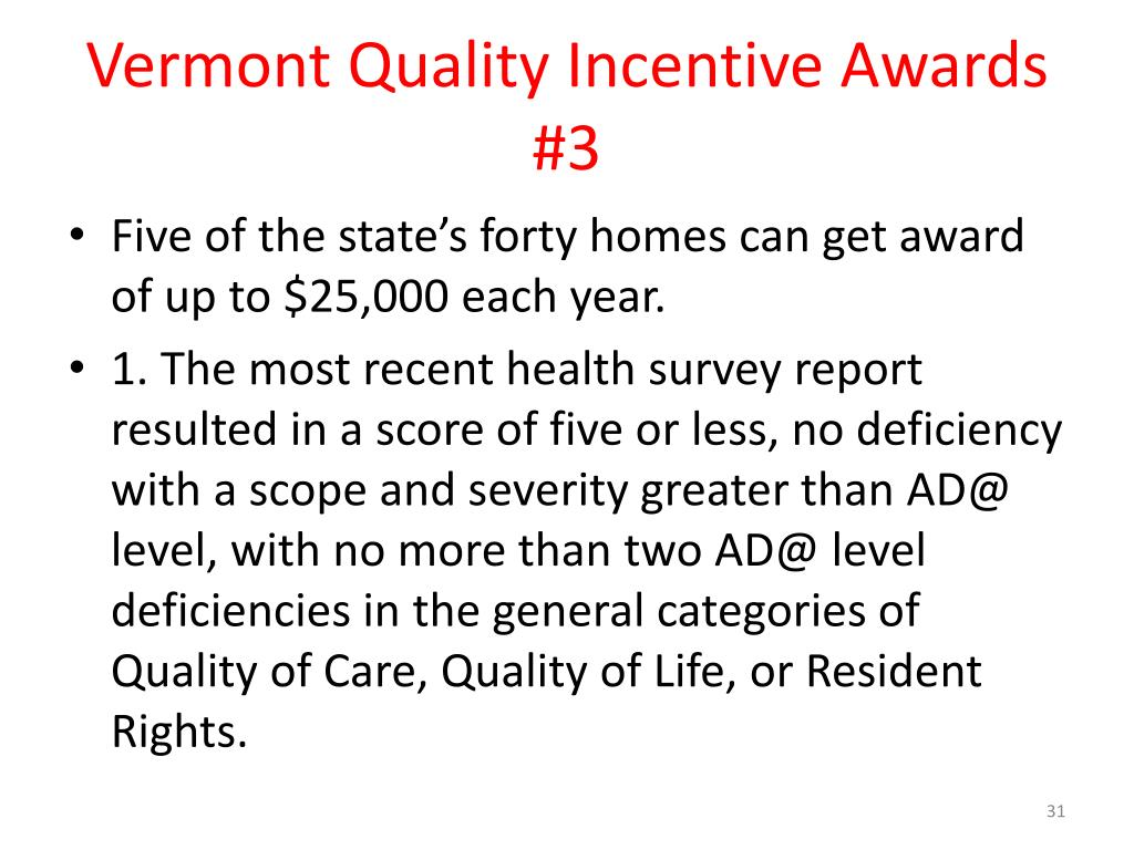 Vermont Quality Incentive Awards