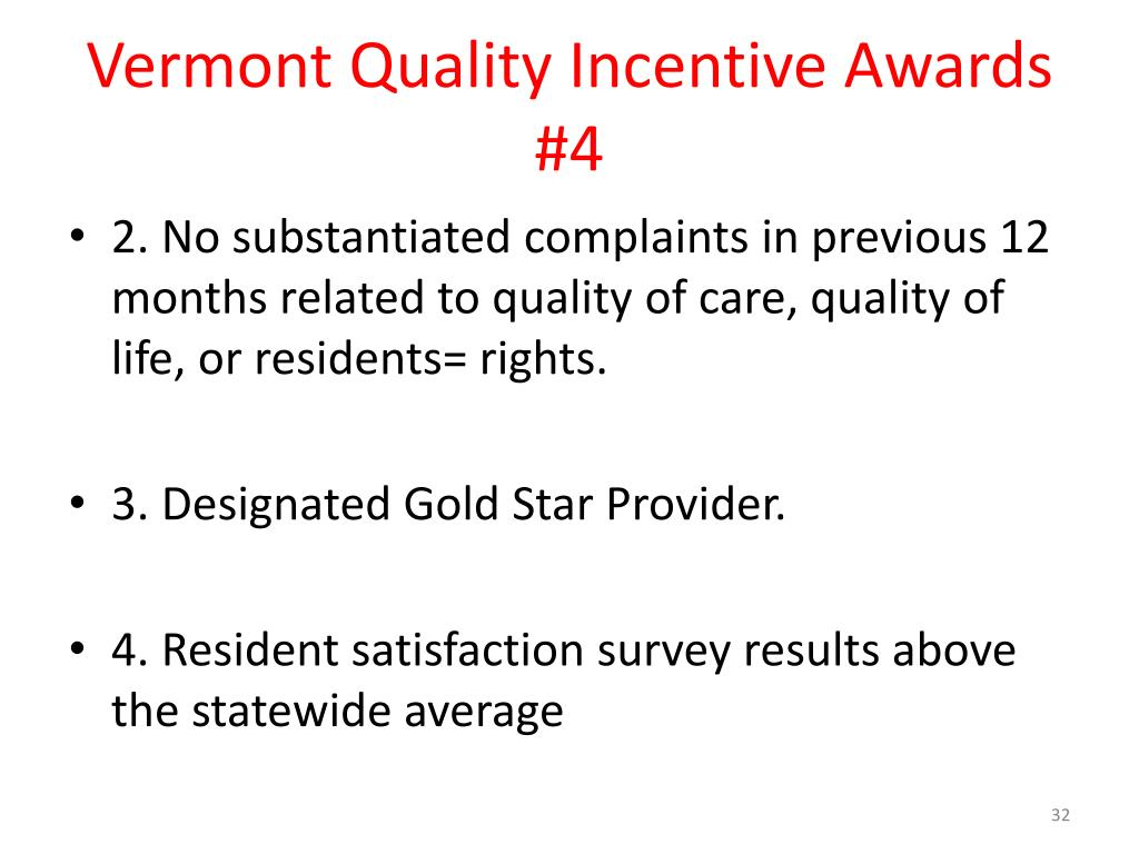 Vermont Quality Incentive Awards #4
