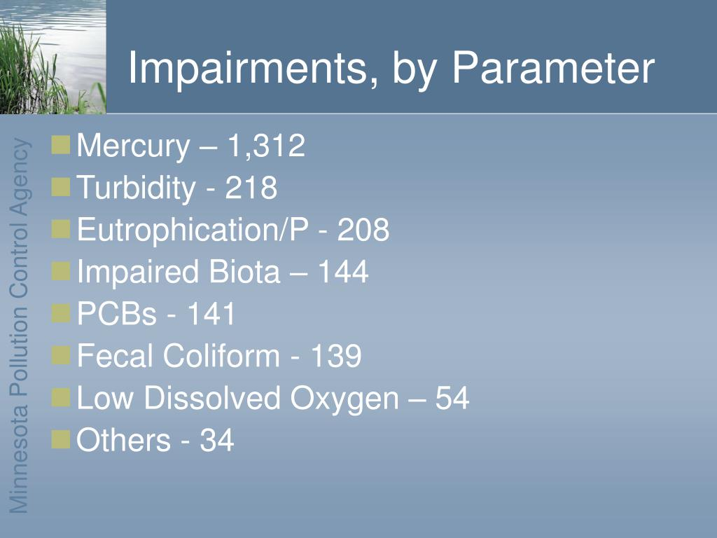 Impairments, by Parameter