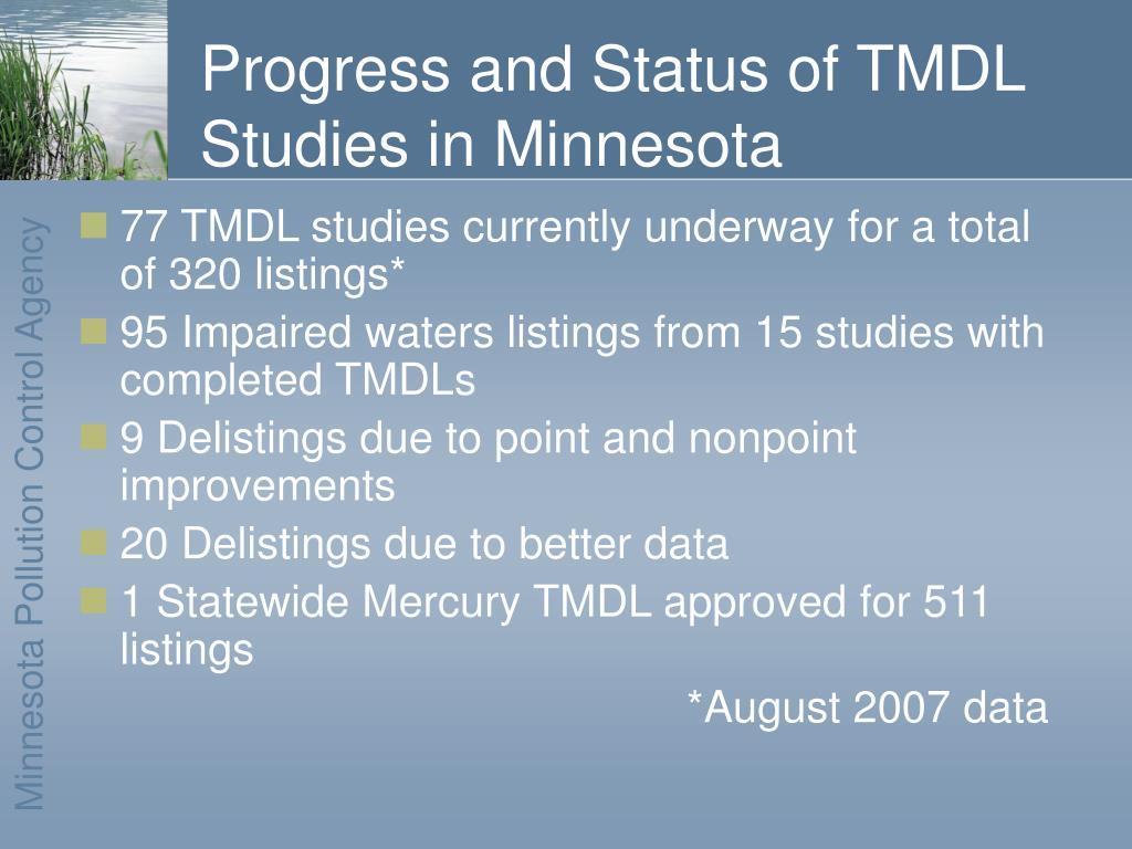 Progress and Status of TMDL Studies in Minnesota