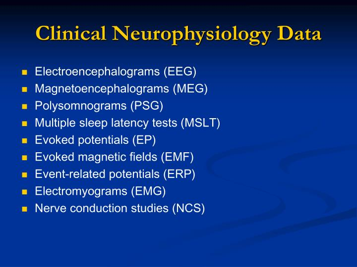 Clinical neurophysiology data