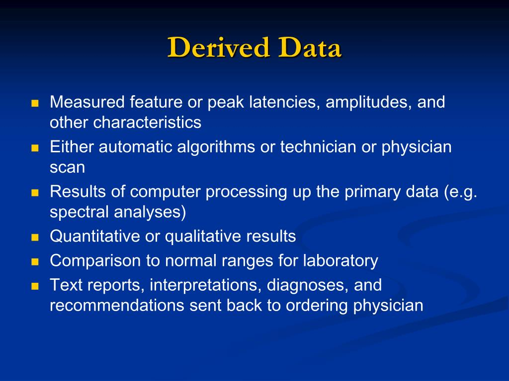 Derived Data