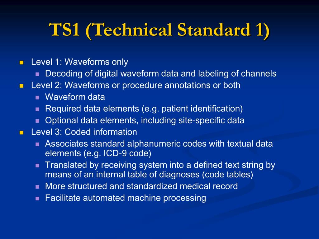 TS1 (Technical Standard 1)