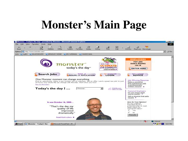 Monster s main page