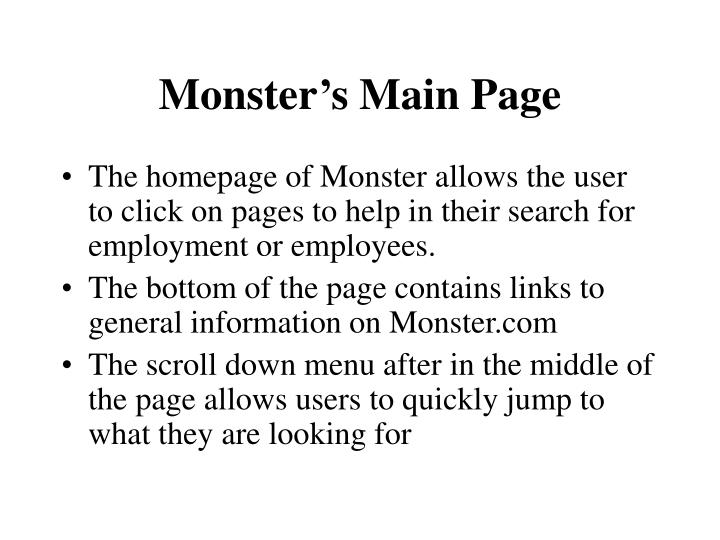 Monster s main page1