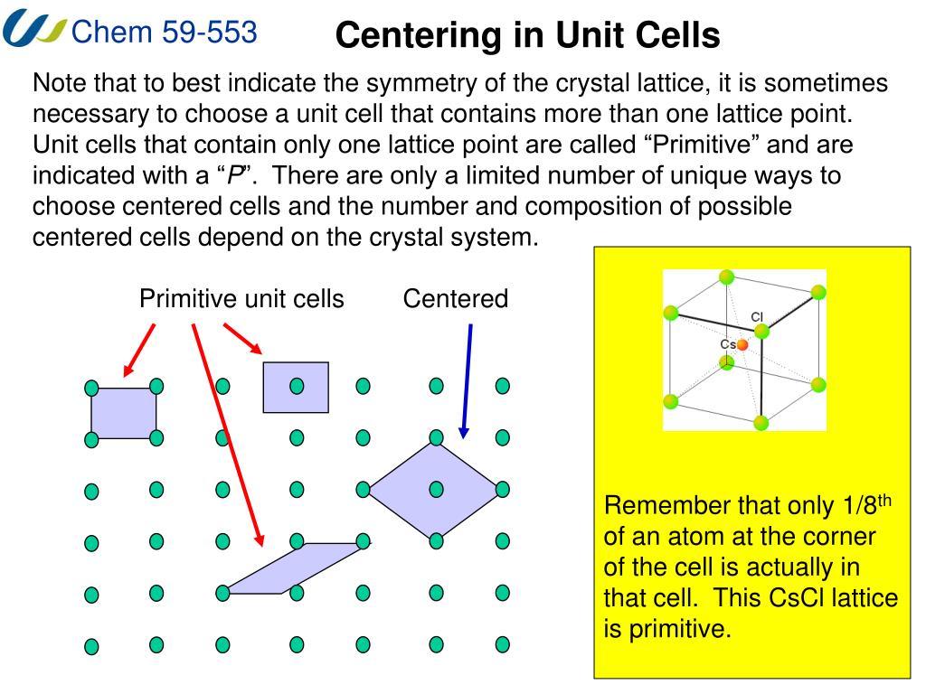 Centering in Unit Cells