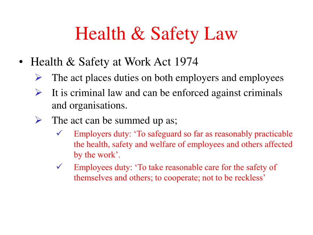 Health & Safety Law