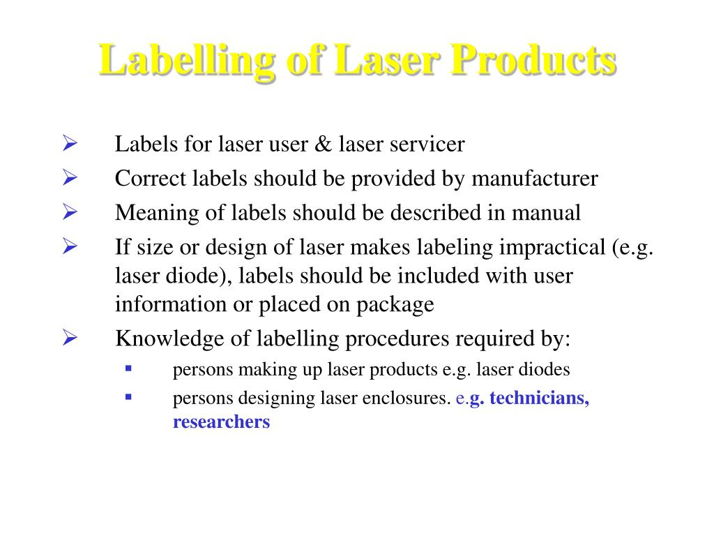 Labelling of Laser Products
