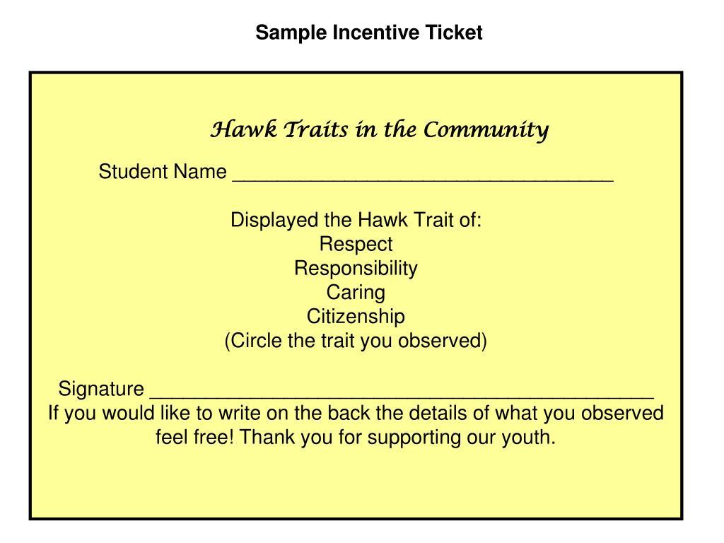 Sample Incentive Ticket