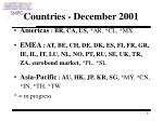 countries december 2001