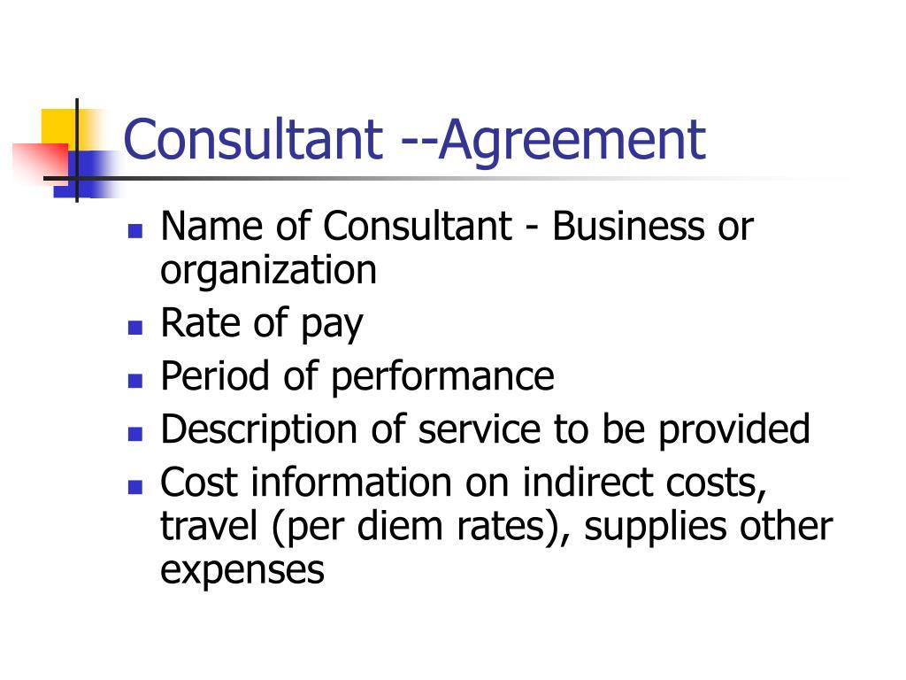 Consultant --Agreement