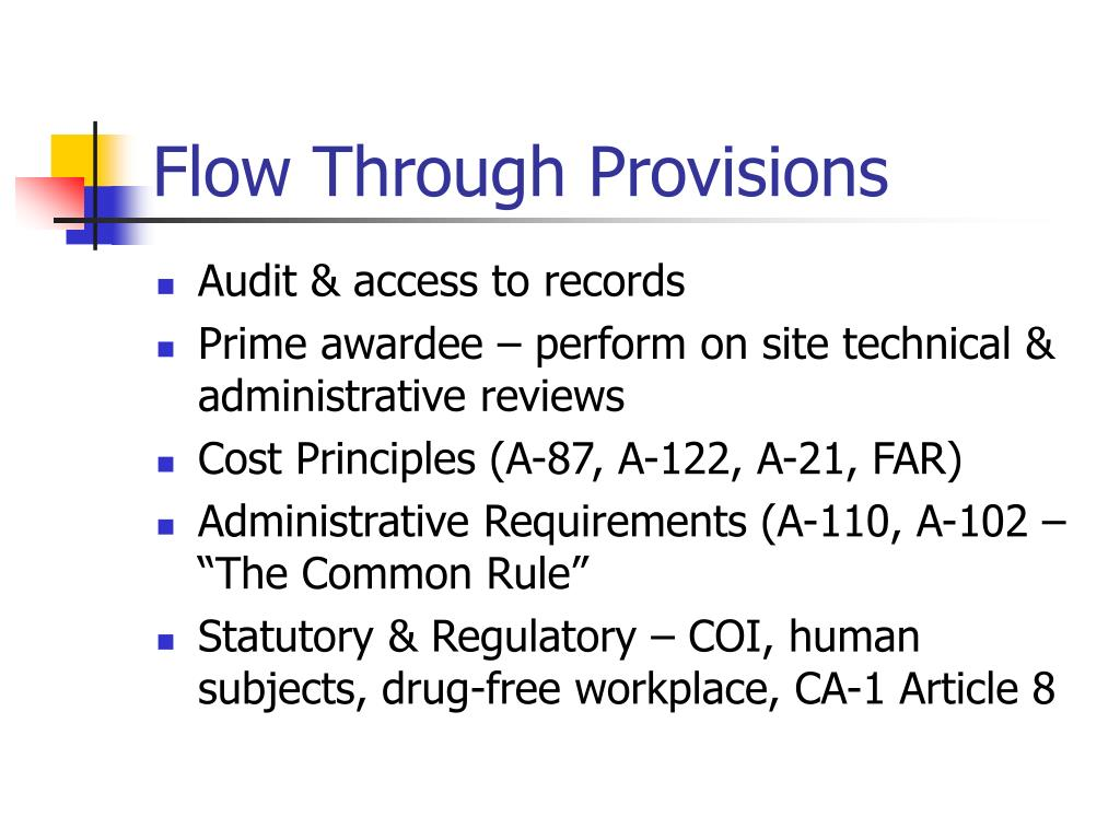 Flow Through Provisions