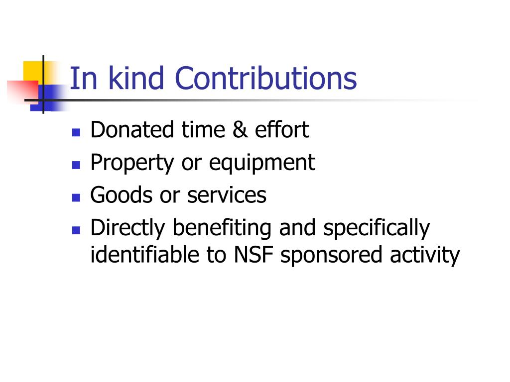 In kind Contributions