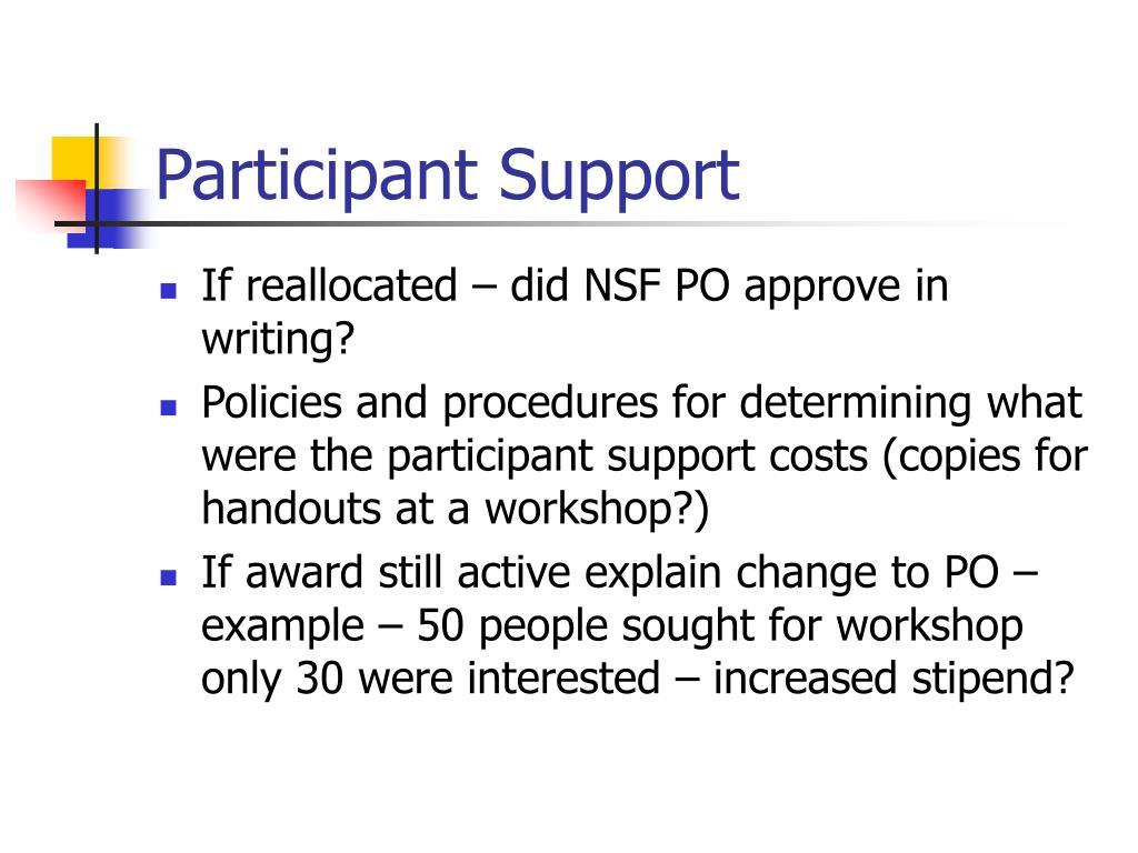 Participant Support