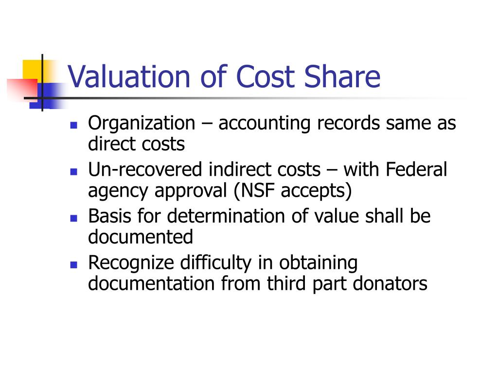 Valuation of Cost Share