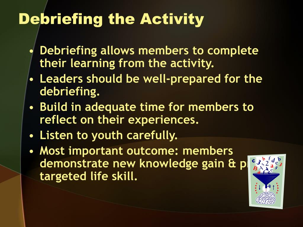 Debriefing the Activity