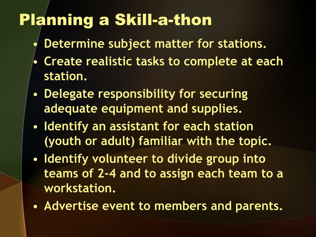 Planning a Skill-a-thon