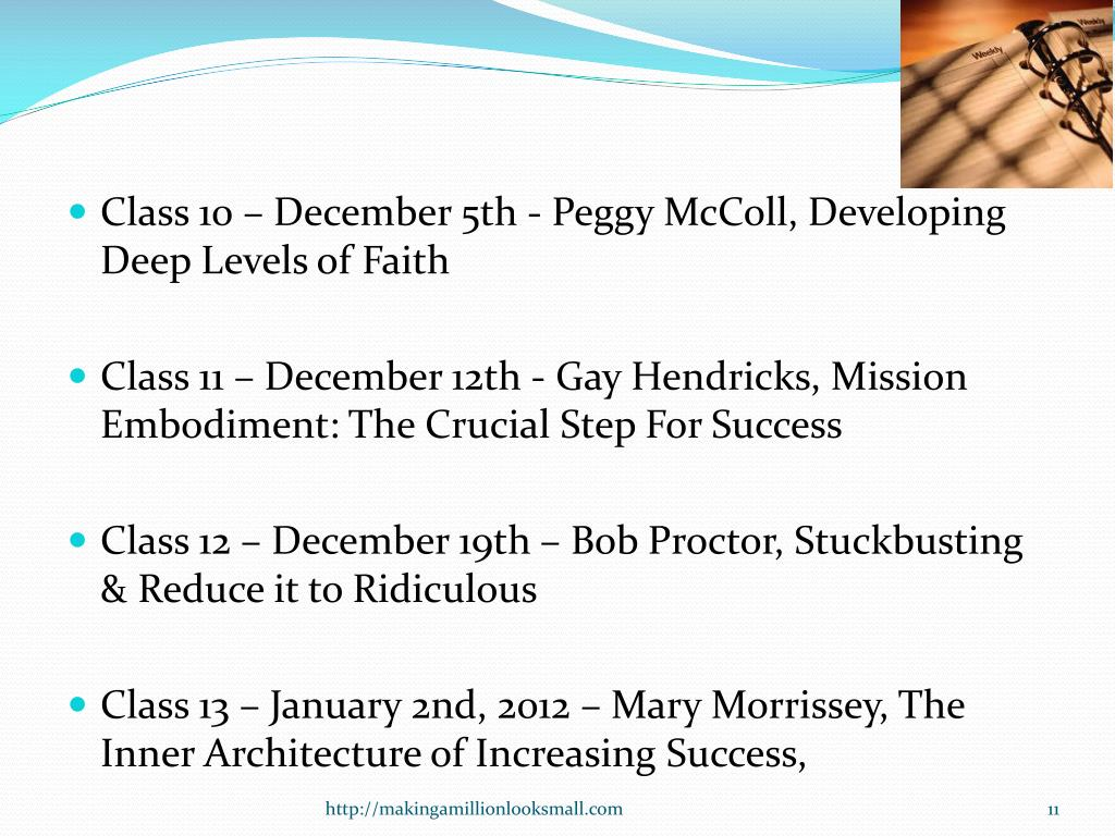 Class 10 – December 5th - Peggy McColl, Developing Deep Levels of Faith