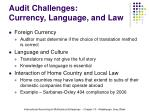 audit challenges currency language and law