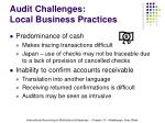 audit challenges local business practices