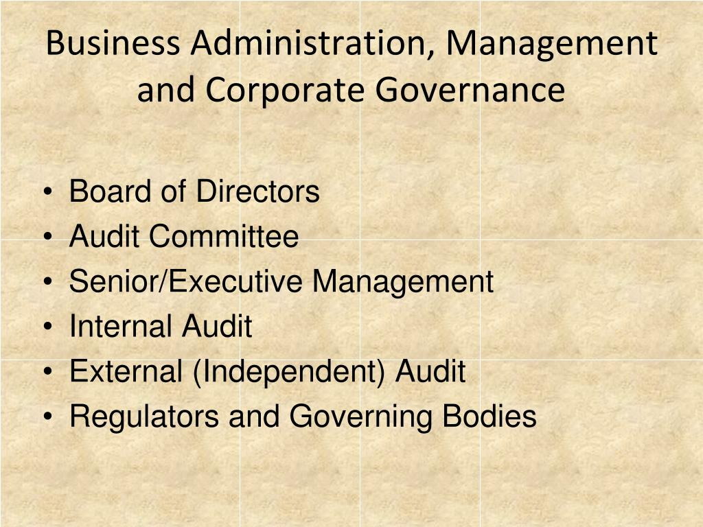Business Administration, Management and Corporate Governance