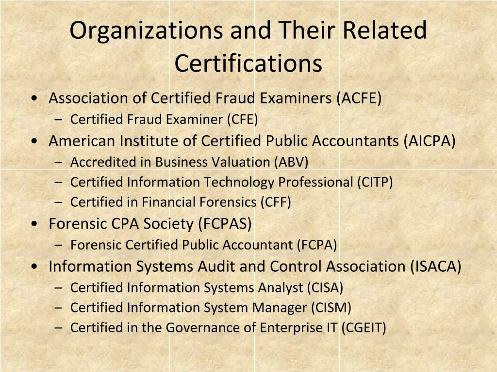 Organizations and Their Related Certifications