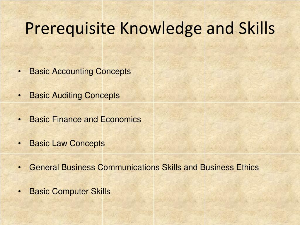 Prerequisite Knowledge and Skills