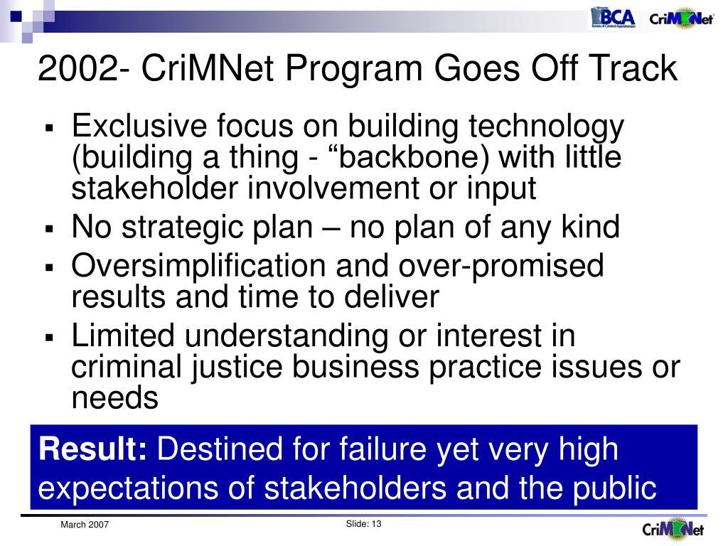 2002- CriMNet Program Goes Off Track