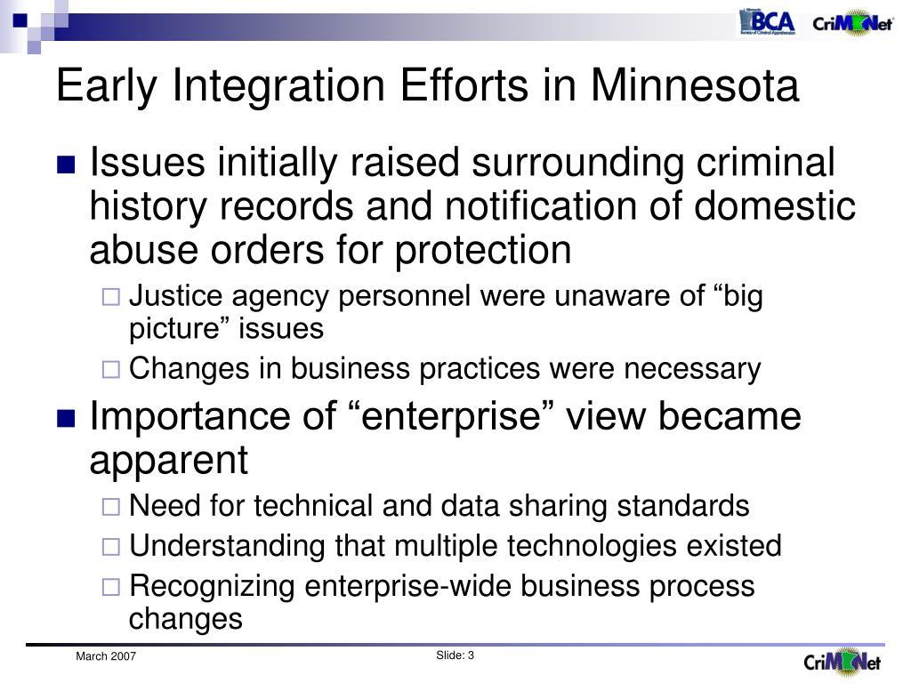 Early Integration Efforts in Minnesota