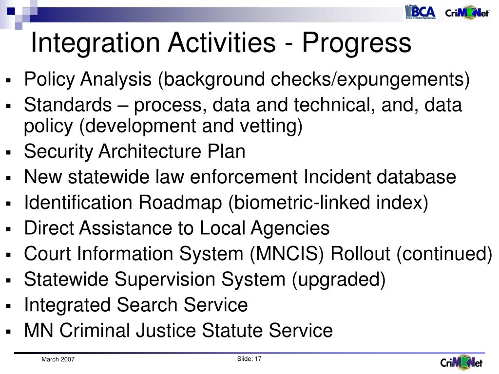 Integration Activities - Progress