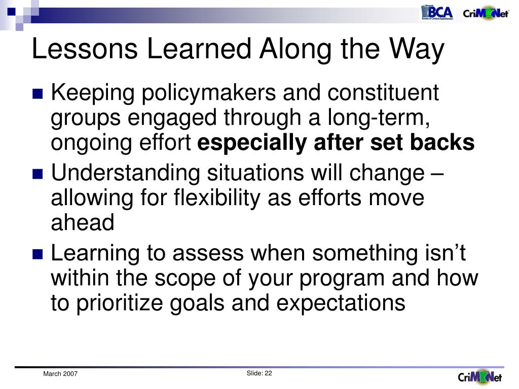 Lessons Learned Along the Way