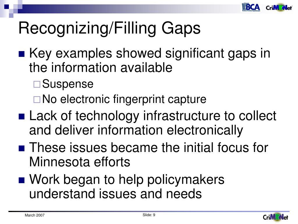 Recognizing/Filling Gaps