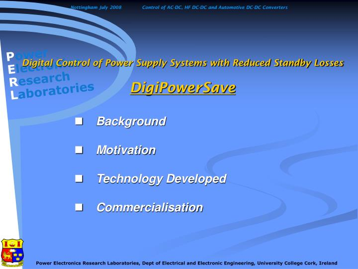 Digital control of power supply systems with reduced standby losses digipowersave