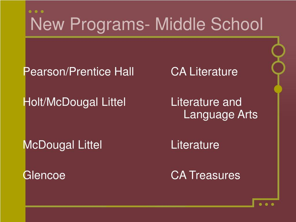 New Programs- Middle School