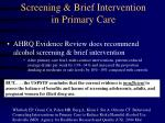 screening brief intervention in primary care