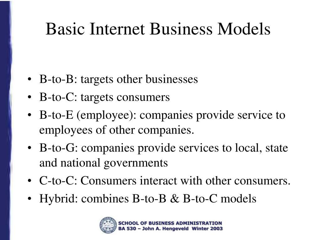 Basic Internet Business Models