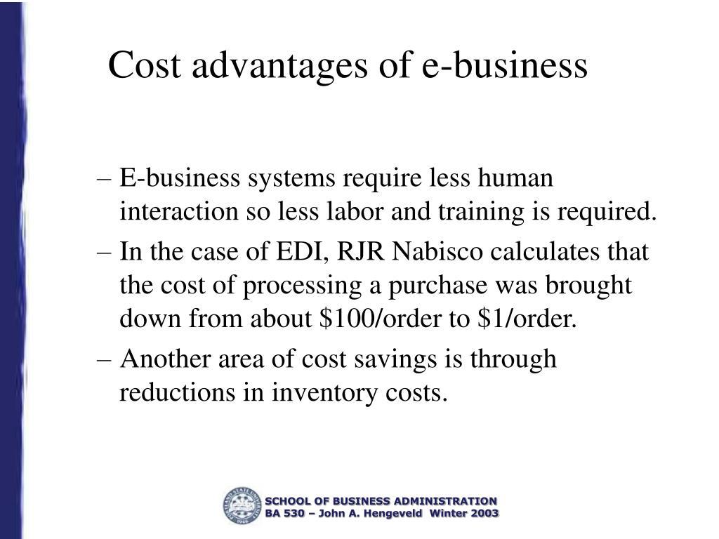 Cost advantages of e-business